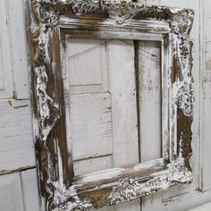 Distressed antique wooden frame large ornate white chippy painted elegant farmhouse wall hanging home decor anita spero