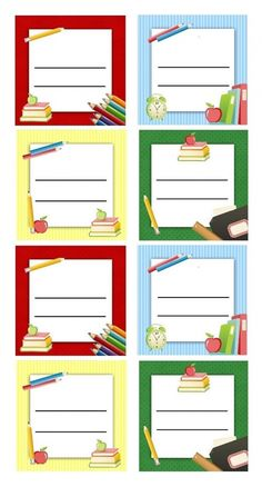 Etiquettes scolaires à imprimer pour livres et cahiers d'école