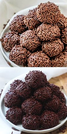 food deserts With only 4 ingredients and fully of delicious fudgy, chocolatey flavor this easy Brigadeiro recipe is a delicious Brazilian treat that you have to whip up! Yummy Recipes, Candy Recipes, Sweet Recipes, Delicious Desserts, Yummy Food, Homemade Desserts, Recipe Tasty, Recipes Of Desserts, Healthy Recipes
