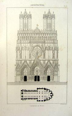 Architecture antique art gothique imprimer, 1852 original vintage cathédrale de Reims, église de plan détage de gravure, décoration gravée en