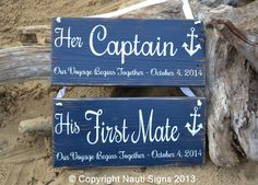 Wedding Signs, Beach Wedding Decor, Rustic Wood Wedding Signs, Personalized Chair Hangers Reception Table, Nautical Wedding Anchor Wedding Signs, Captain First Mate, Navy Blue Wedding, Anchor Decorations Nauti Wood Signs www.nautiwoodsigns.com
