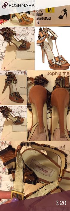 Sophie Theallet T-strap grosgrain sandal 8.5M These gorgeous Sophie Theallet for Nine West limited edition t-strap brown/gold grosgrain plaid ribbon platform sandal has a 5-inch heel and 1-inch platform and is THE PERFECT fall/Thanksgiving ensemble shoe. Vintage shabby chic retro lady-like romantic look perfect for date night, photoshoots! EUC only worn once. Ribbon frays naturally though part of the strap lining is starting to rub off. Still very soft against the skin and comfortable. Shoe…