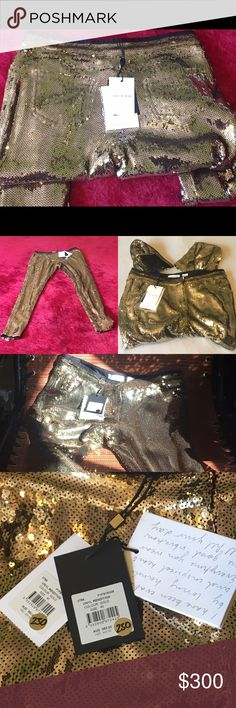 sass & bide Gold Sequence Pants These HOT NWT gold sequence Vinyl Rendition sass & bide size AUS 40/US 6 skinny party pants are BEAUTIFUL! One button, two slide hooks, and zippered front with two back mini pockets. Designed in Australia and perfectly made in the Republic of China. They're brilliant under all lights and even during the night! These pants need to go out on the town! Thank you for shopping my closet today!🐞 sass & bide Pants Skinny