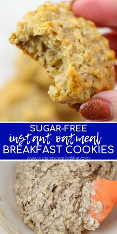 Let them eat Cookies for Breakfast with this Sugar-free Instant Oatmeal Breakfast Cookie recipe! Oatmeal Dessert, Oatmeal Breakfast Cookies, Breakfast Cookie Recipe, Healthy Oatmeal Cookies, Diabetic Oatmeal, Diabetic Cookies, Breakfast Bars Healthy, School Breakfast, Diabetic Snacks