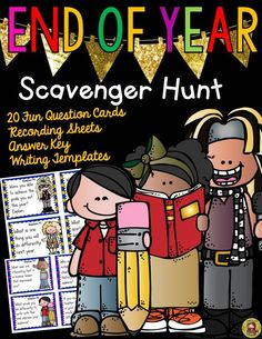 It's nearing the end of the year and perhaps you would like a fun-filled activity for your students to reflect upon. This fun End of Year Scavenger Hunt Pack will enable your students to record snippets of the year gone by through 20 well-thought out questions. www.teacherspayte...