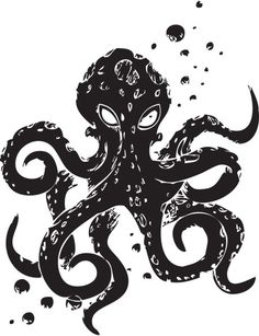 Octopus Mania Wall Decal-Choose any color and by Pillboxdesigns