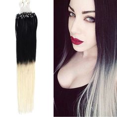 Ombre Micro Loop Ring Hair Extensions Two Tones Color #1/613 Black To Light Blonde - Beauty #ombre #microhair