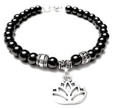 Hematite and Lotus charm Bracelet