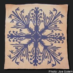 Blue lily Hawaiian applique, from the Bishop Museum in Honolulu