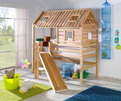 Relita Spielbett Tom´s Hütte mit Rutsche Buche massiv geölt, 210 cmx240 cmx210 cm; BS1311118-B90+ZB1371418