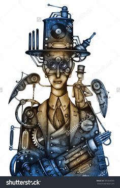 Steampunk Man by Eugene Ivanov. #eugeneivanov #steampunk #science #fiction #fantasy #machinery #victorian #illustration #art #original  #@eugene_1_ivanov
