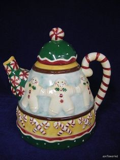 Debbie Mumm Ceramic Teapot Sakura Christmas Gingerbread Men Candy Canes.