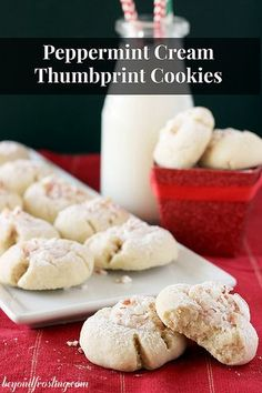 Peppermint Cream Thumbprint Cookies. This is an old Pillsbury recipe that uses powdered sugar instead of regular sugar, leaving you with the ultimate soft cookie. It's filled with a dollop of peppermint cream cheese.