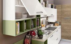 Cucina angolare moderna - Composizione 0467 - Dettaglio pensile e libreria a giorno