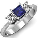 Share 1.00 Carat (ctw) 14k White Gold Princess Cut Blue Sapphire and White Diamond Ladies Bridal 3 Stone Engagement Ring 1 CT - Dazzling Rock #https://www.pinterest.com/dazzlingrock/
