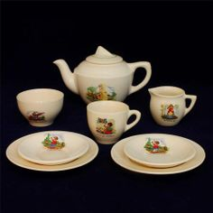 Gorgeous ART DECO design BILTONS pottery NURSERY RHYME pattern CHILDREN'S TEASET | eBay