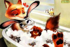 Bath the bun! Bad the bun! Nick Y Judy, Nick And Judy Comic, Zootopia Fanart, Zootopia Comic, Zootopia Nick E Judy, Judy Hops, Fox And Rabbit, Nick Wilde, Sexy Cartoons