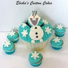 Olaf giant cupcake and matching cupcakes.