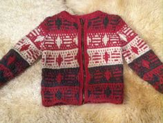 1950s XS Handknit sweater Talon brass zipper geometric 50s mid century cardigan 1960s 60s extra small red dark gray black white crewneck