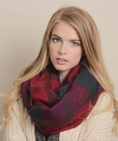 Love this Red Plaid Infinity Scarf on #zulily! #zulilyfinds