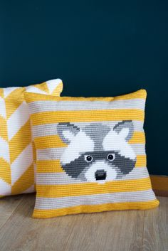 Vervaco kit raccoon #cushions #vervaco #longstitch #embroidery