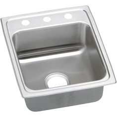 Elkay LRAD172060 Gourmet 17 Single Basin Drop In Stainless Steel Bar Sink (2 faucet holes (middle right) - N/A) 2 faucet holes (middle right)