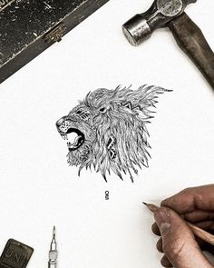 Lion Illustration, Hand Drawn, Tattoo Ideas, How To Draw Hands, Stickers, Adventure, The Originals, Tattoos, Link
