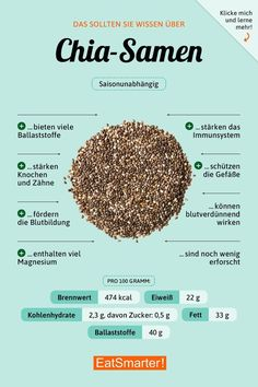 You Should Know About Chia Seeds eatsmarter.de # nutrition - You Should Know About Chia Seeds eatsmarter. Nutrition Sportive, Healthier Together, Food Facts, Chia Seeds, Eating Habits, Vegan, Cranberries, Detox, Healthy Eating