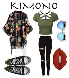 """""""Untitled #45"""" by nayliamani ❤ liked on Polyvore featuring LE3NO, Topshop, Converse, Lime Crime and kimonos"""
