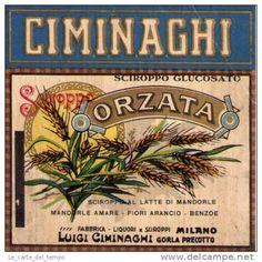 Etichetta (vini-liquori) Sciroppo Glucosato Latte Mandorle CIMINAGHI Milano Anni'30