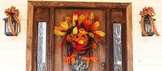 Turkey Deco Mesh Wreath on My front door....