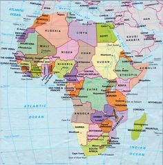 African Political Map, includes north, west, east and southern ...