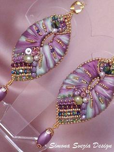 Earring/Earrings ALTEA with shibori silk/with by PerlineeBijoux