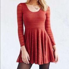 Rust Orange Sweater Knit Babydoll Dress  S