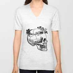 Skull in Floral Wreath Ink Drawing Dictionary Art Unisex V-Neck