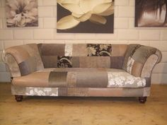 Patchwork sofa on eBay lovely understated fabrics and leather