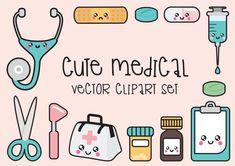 Premie Vector Clipart - Kawaii arts Clipart - Kawaii Clip Art Set - hoge kwaliteit vectoren - Instant Download - Kawaii Medical Clipart
