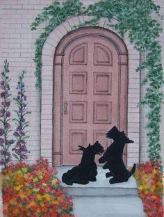 Scottish Terriers scotties at the door / Lynch by watercolorqueen, $12.99
