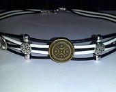 Black & White Leather slave/submissive Collar - w/ BDSM Emblem  Item (51). $23.00, via Etsy.