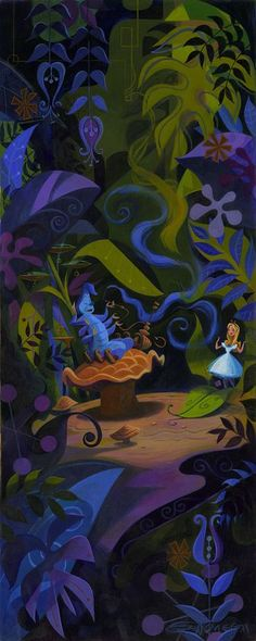 """The Caterpillar Speaks"" By Mark Swanson - Original Acrylic on Canvas, 30x12."