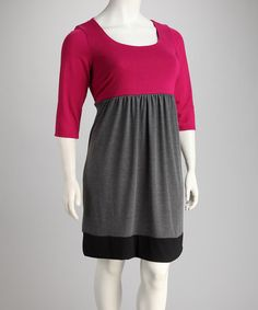 Take a look at this Pink & Gray Color Block Plus-Size Empire-Waist Dress by Jump Apparel on #zulily today!
