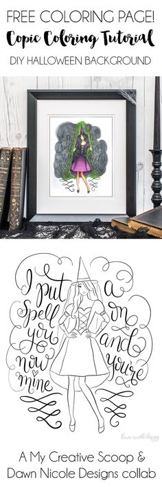 DIY Halloween Background + FREE Coloring Page. A Copic Marker Tutorial with Step by Step Photos to teach you how to create this fun technique!