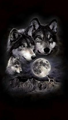 -Super tattoo back moon wolves Ideas Ideas de tatuajes super lunares lobos See it Wolf Images, Wolf Photos, Wolf Pictures, Beautiful Wolves, Animals Beautiful, Wolf Pack Tattoo, Tattoo Wolf, Two Wolves Tattoo, Wolf And Moon Tattoo