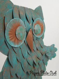 EcoHeidi Borchers works her creative magic transforming a paper plate into a look of metal owl! What a hoot! Featured on www.cool2craft.com #diycrafts