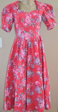 STUNNING VINTAGE LAURA ASHLEY GARDEN PARTY FLORAL SWEETHEART NECK DRESS, sz 12