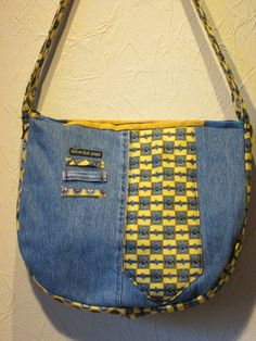 Items similar to Denim handbag with colourful ties on Etsy