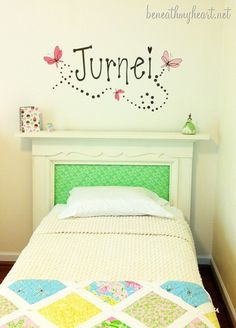 Fireplace mantle headboard in a little girl's room. By @Traci @ Beneath My Heart