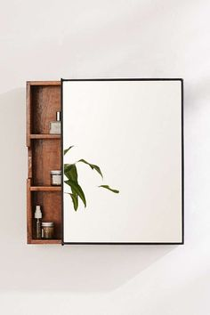 Slide View: 1: Plymouth Sliding Storage Mirror - Powder Room Storage / Home Accessories