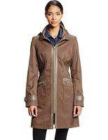 Via Spiga Women's Zip Front Soft-Shell Rain Jacket with Hood