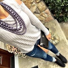 IG @mrscasual <click through to shop this look> Gray Beaded Necklace, cold shoulder top